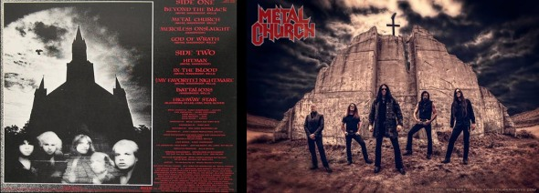 Rear cover of Metal Church's debut album, Metal Church (1984) [left] - Metal Church promo shot (Generation Nothing - © 2013) [right]